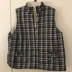 Black white Plaid Vest. 3x